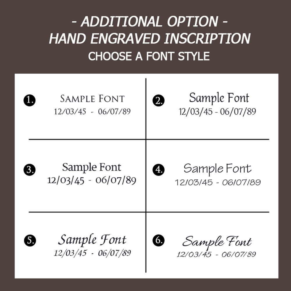 Font Choices for Engraving (Add - $75)