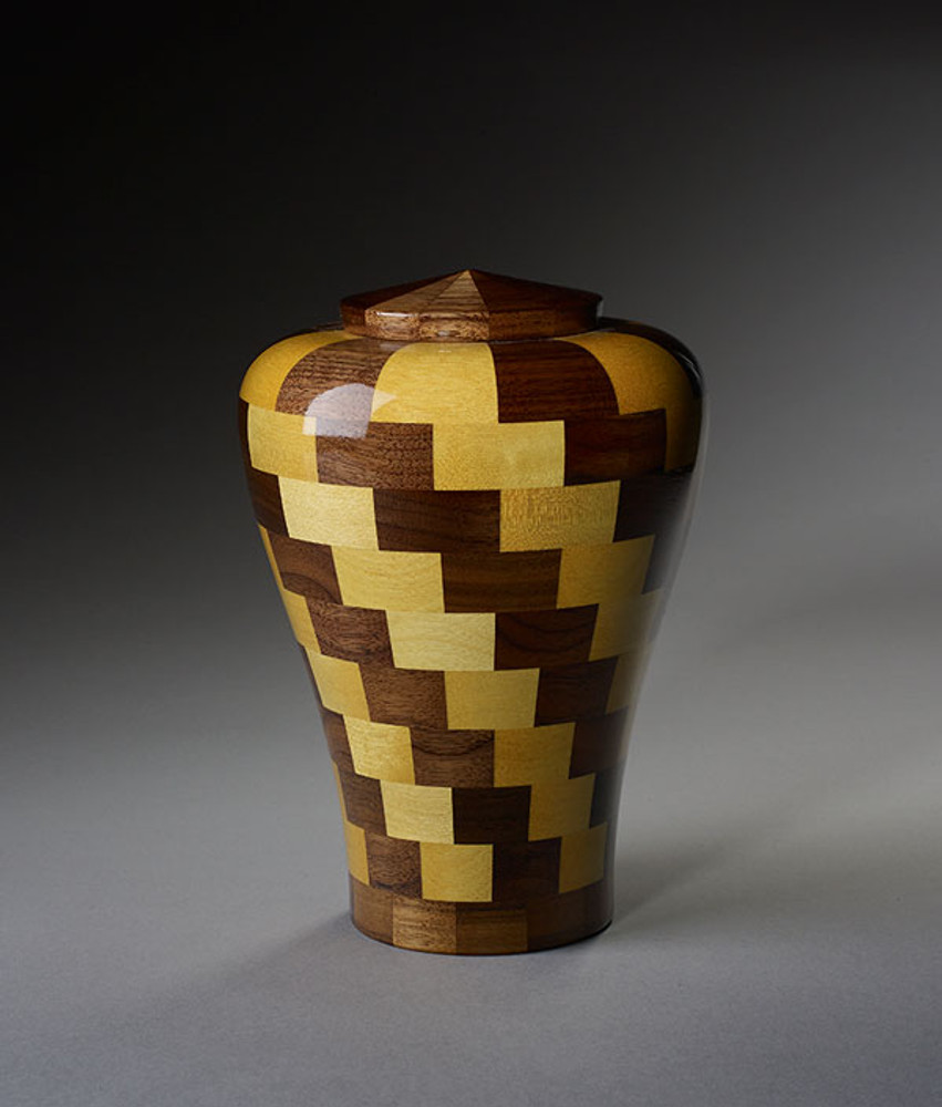 Small Size - Walnut & Yellowheart Wood Urn
