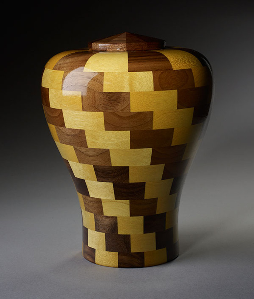 Standard (Large) Size - Walnut & Yellowheart Wood Urn