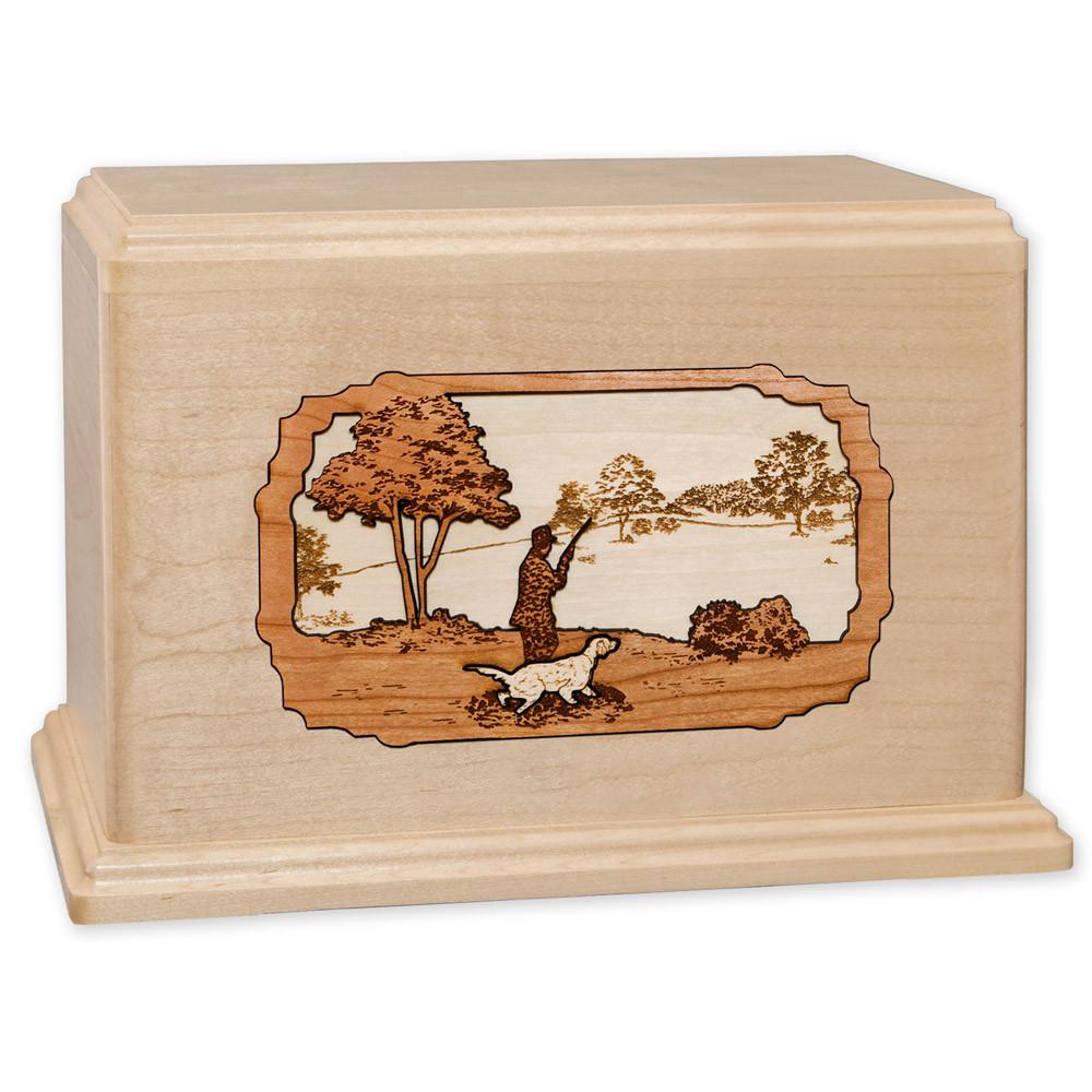 Hunting Dog Companion Urn - Maple Wood