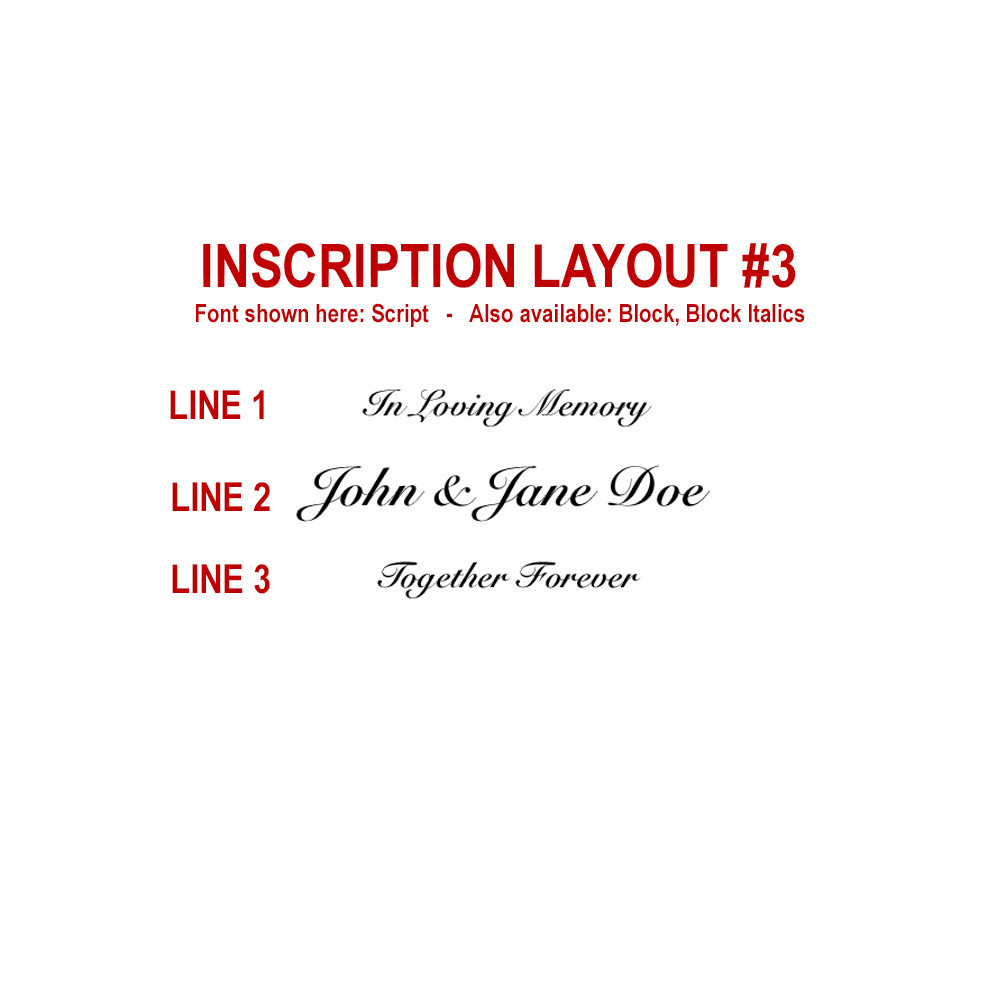 Companion funeral urn inscription layout #3