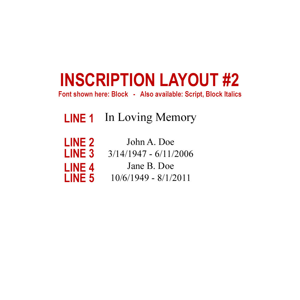 Companion funeral urn inscription layout #2