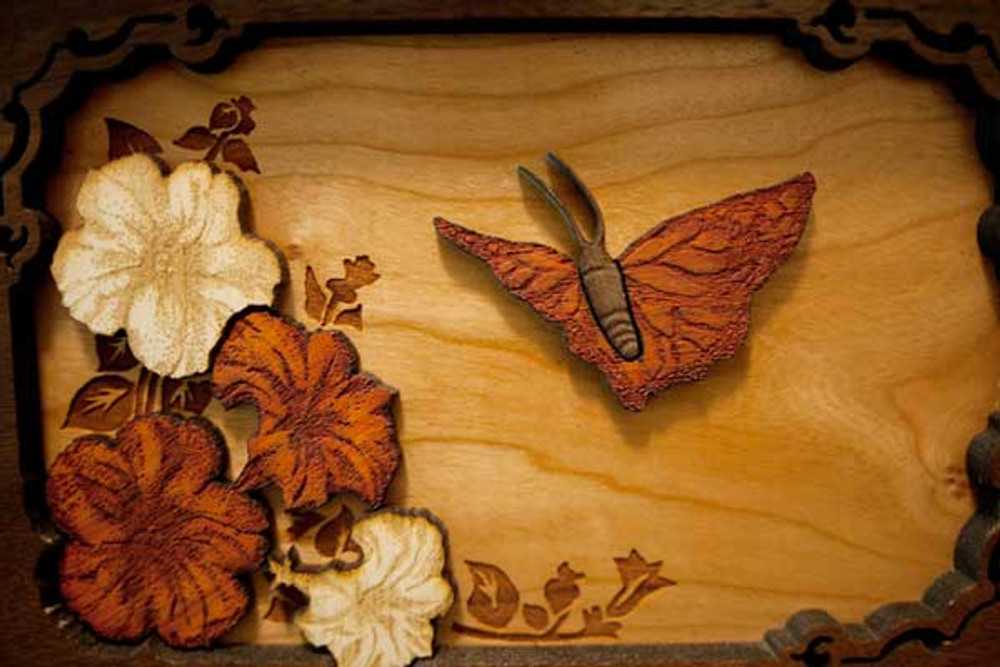 Butterfly scene in Walnut wood