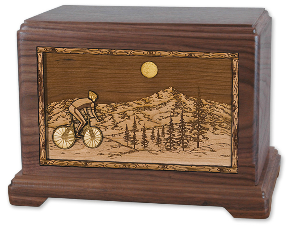 Mountain Bicycle Cremation Urn in Walnut Wood
