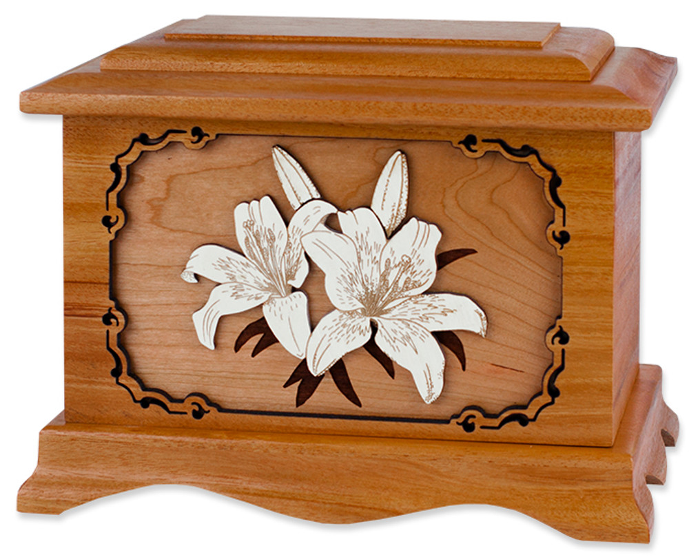 Lilies Cremation Urn in Mahogany Wood