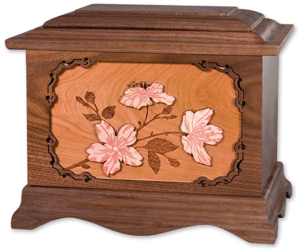 Cherry Blossoms Cremation Urn in Walnut Wood