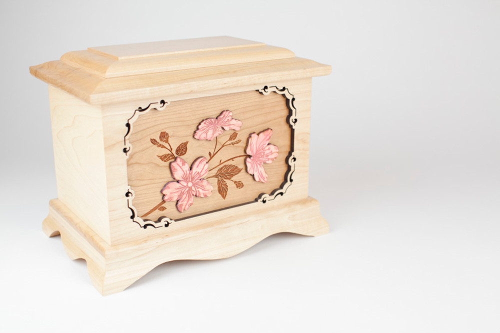 Gorgeous Cherry Blossom urn in white Maple wood