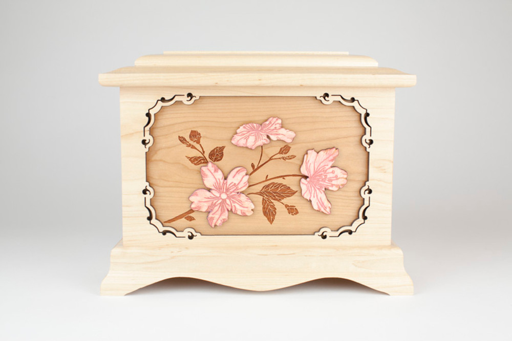 Lovely laser etched memorial urn with Cherry Blossom art