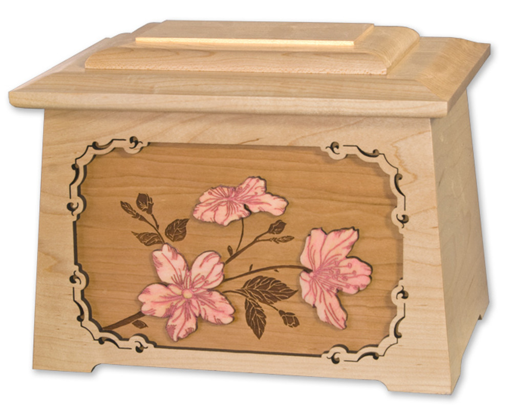 Cherry Blossoms Astoria Cremation Urn in Maple
