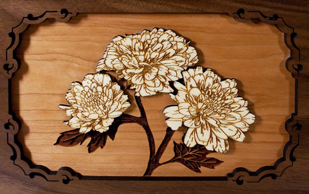 Mums floral wood art scene