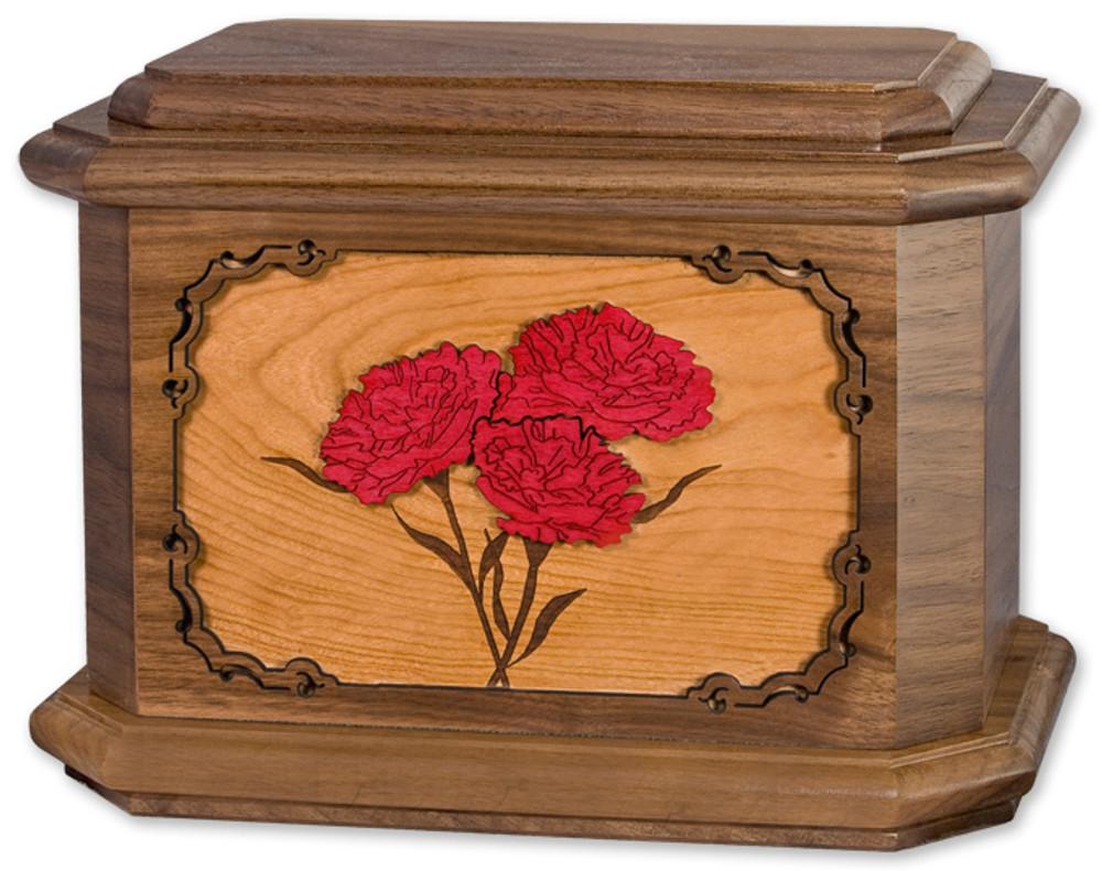 Carnations Flower Cremation Urn in Walnut Wood