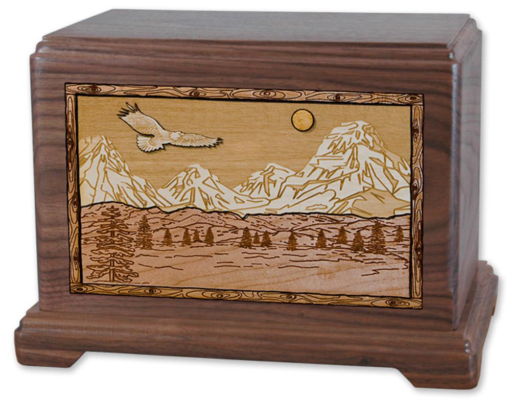 Mountain Splendor Cremation Urn in Walnut Wood