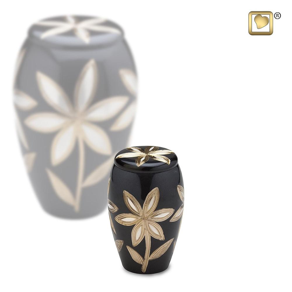 Majestic Lilies Brass Cremation Urn - Small Keepsake