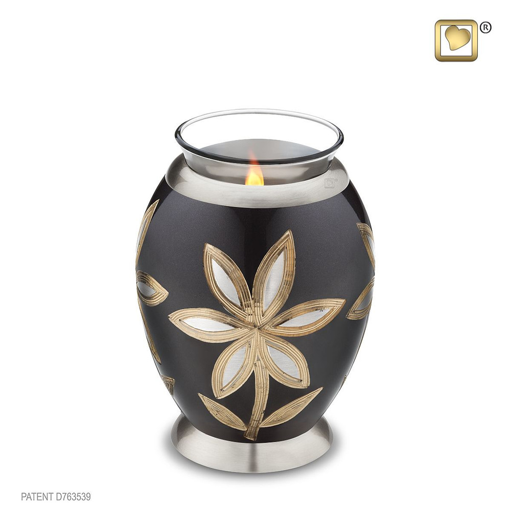 Majestic Lilies Brass Cremation Urn - Tealight