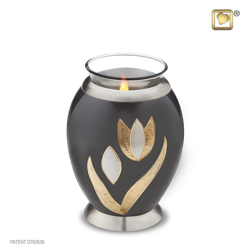 Majestic Tulip Brass Cremation Urn - Tealight Keepsake