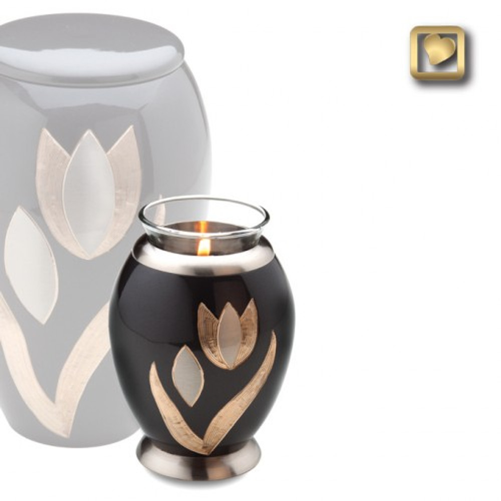 The Tulip Tealight Urn is a small keepsake urn, 20 cubic inch capacity