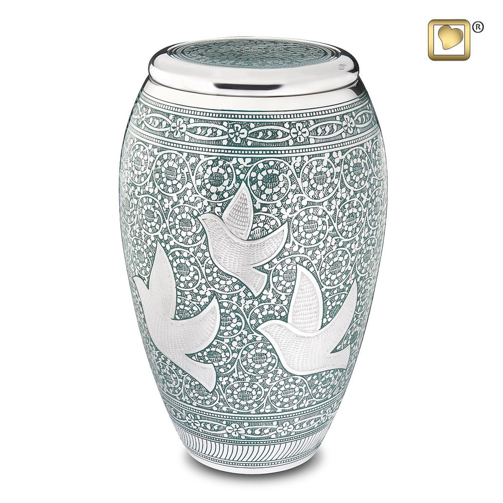 """Brass Cremation Urns with """"Returning Home"""" Doves Enameled Inlay"""