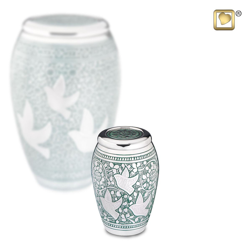 Returning Home Brass Cremation Urn with Doves