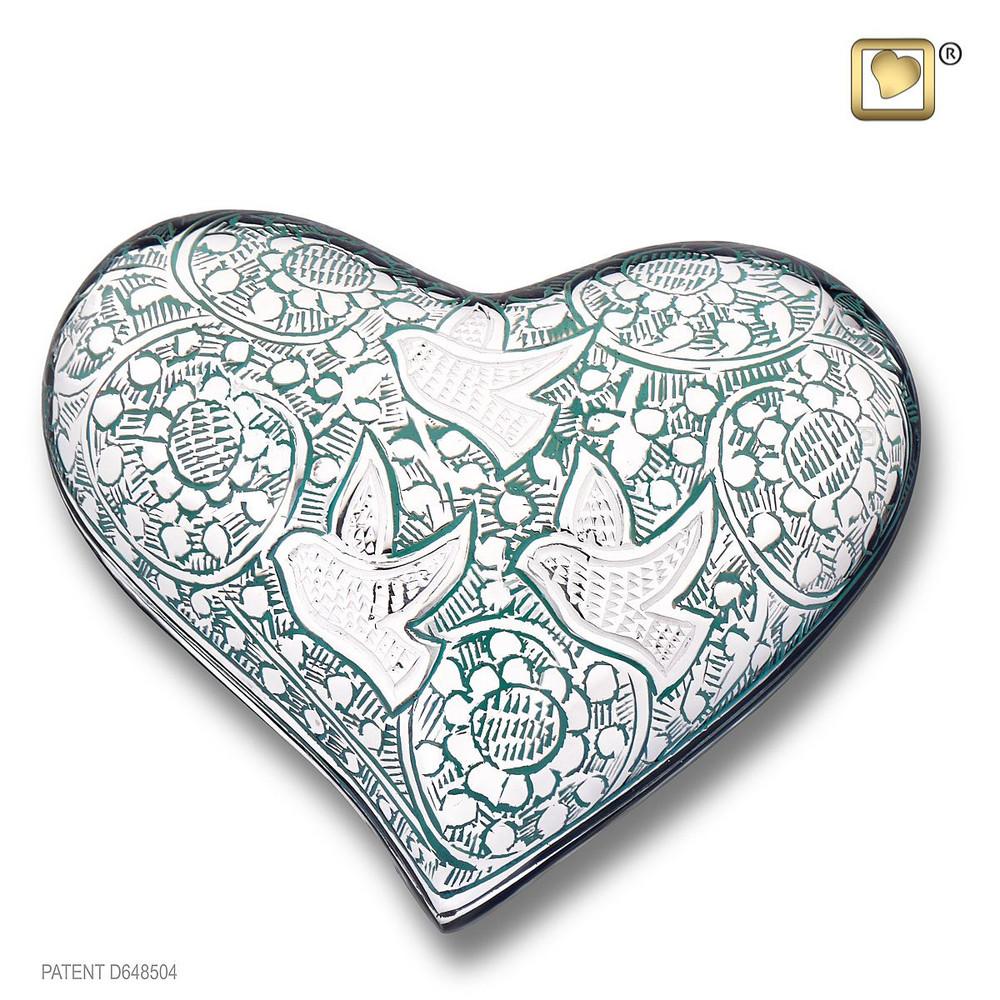 Heart Keepsake Urn with Returning Home Doves