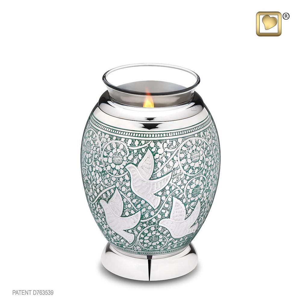 Brass Keepsake Cremation Urn - Tealight Urn with Doves