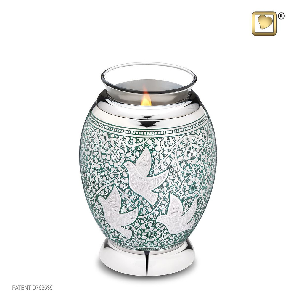 Brass Keepsake Cremation Urn - Tealight Urn with Doves