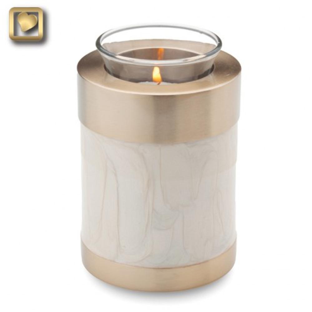 Tealight Brass Keepsake Cremation Urn in Pearl