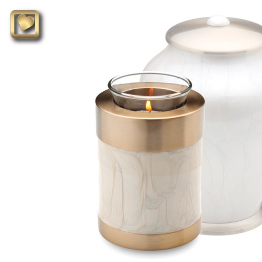 The tealight is a small keepsake urn with 20 cubic inch capacity