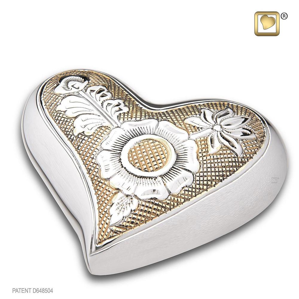 Ornate Floral Cremation Urn in Brass - Heart Keepsake