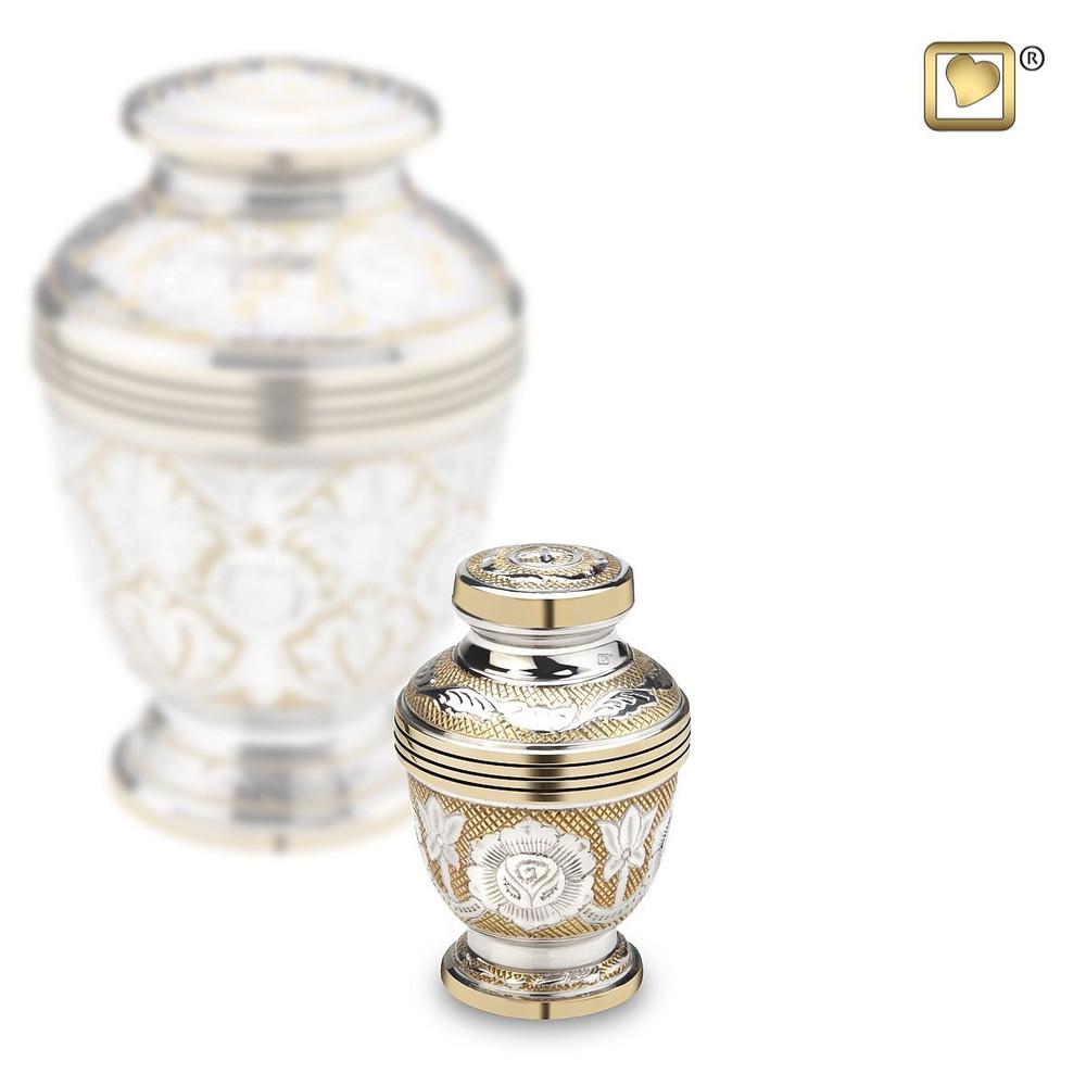 Ornate Floral Cremation Urn in Brass - Small Keepsake