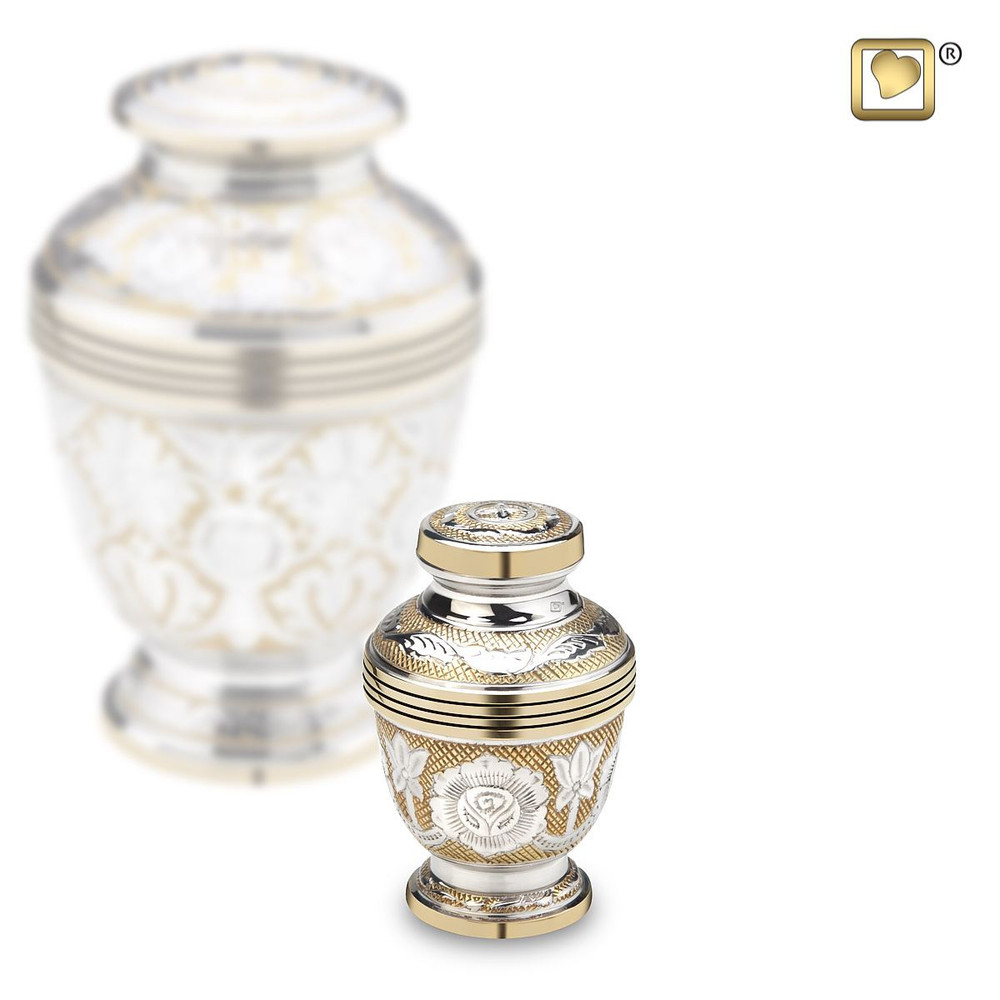 Ornate Floral Cremation Urn in Brass - Small Keepsake