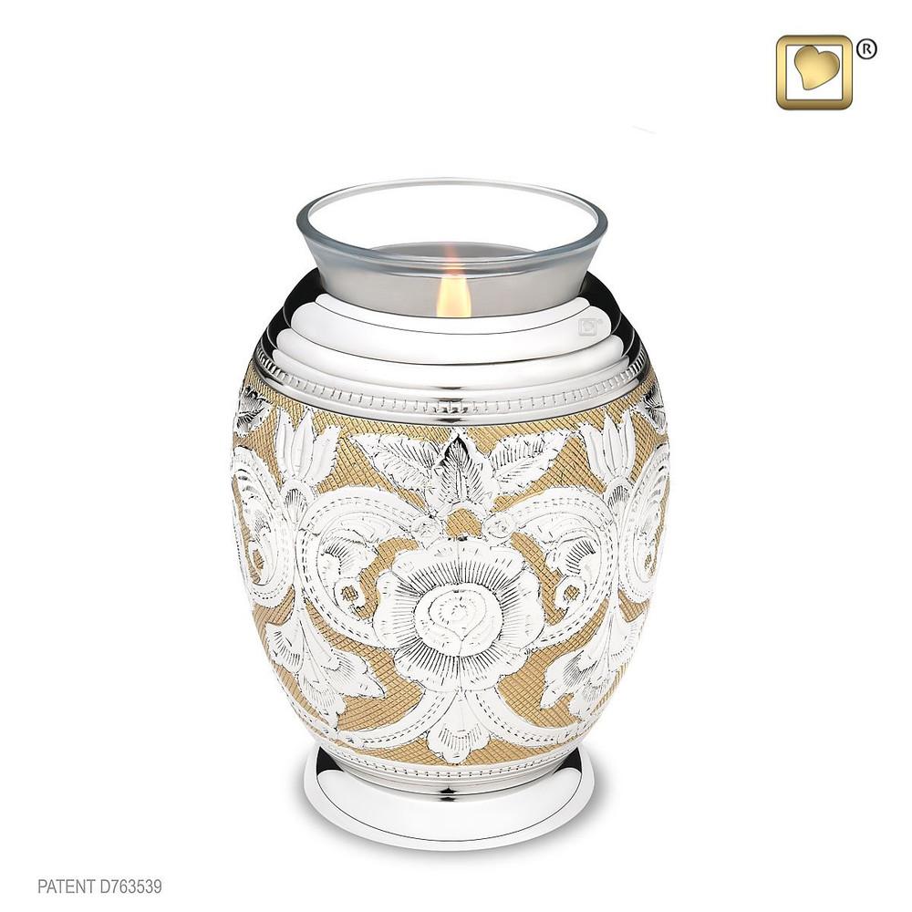 Ornate Floral Cremation Urn in Brass - Tealight Keepsake