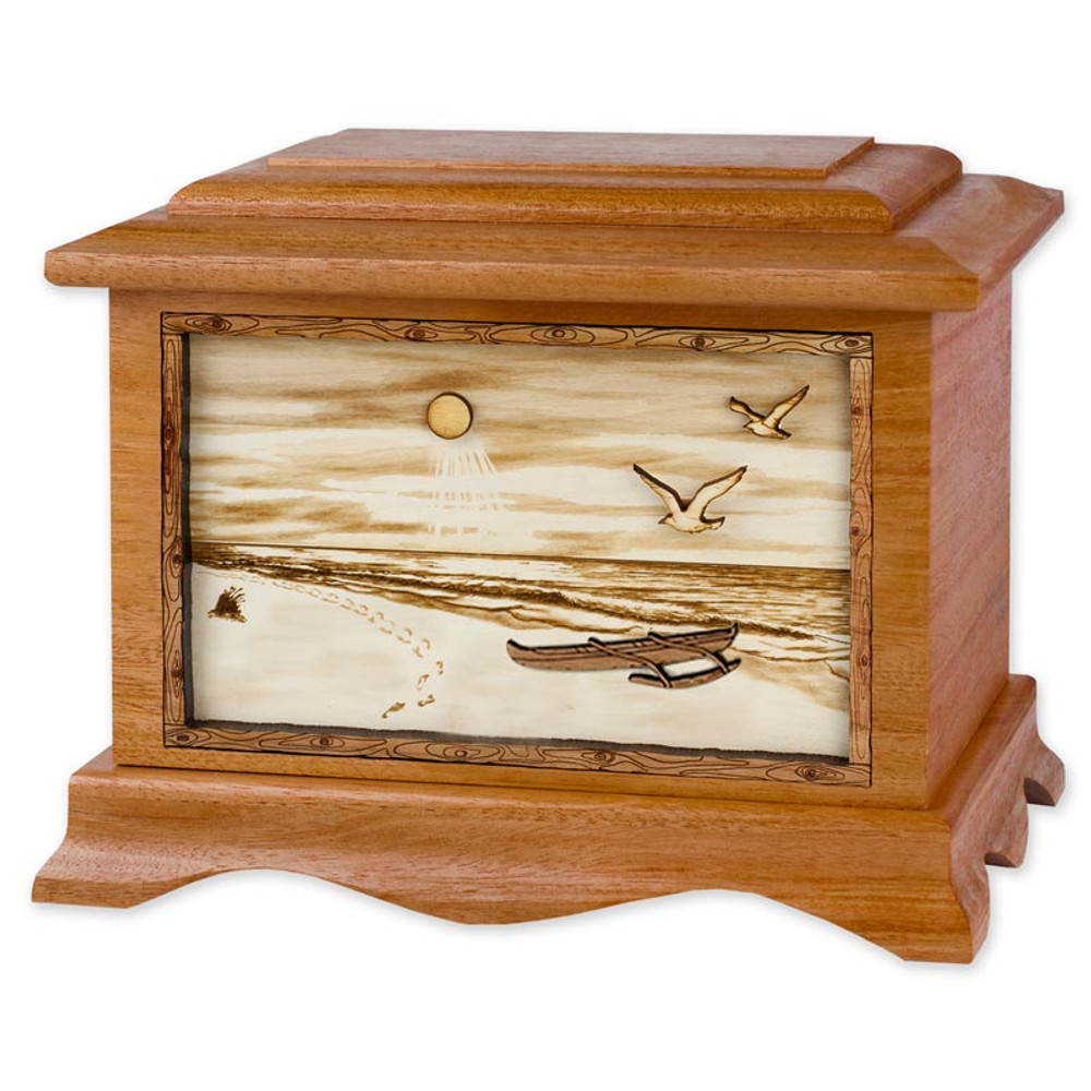 Tropical Beach Cremation Urn in Mahogany