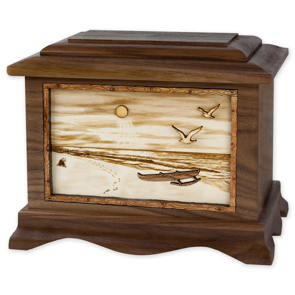 Tropical Beach Cremation Urn in Walnut