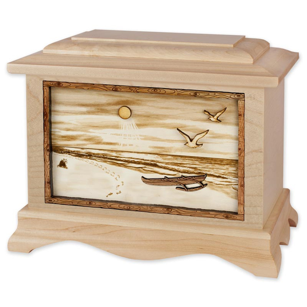 Tropical Beach Cremation Urn in Maple