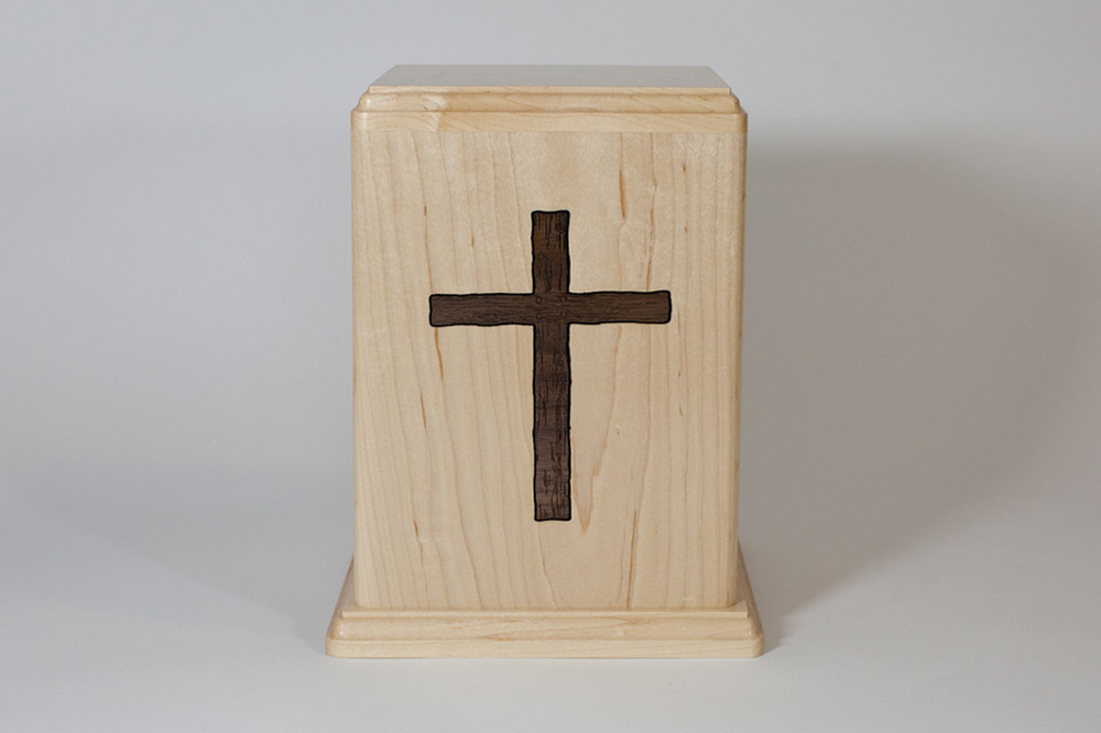 Maple Wood Urn - Front with Cross Inlay
