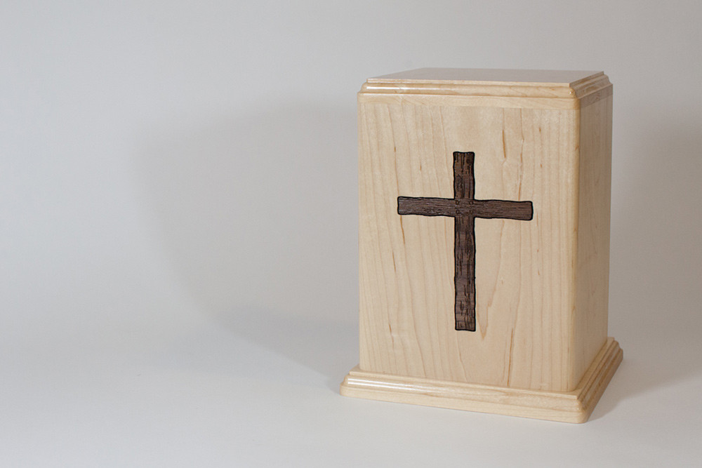 Maple Wood Urn with Walnut Cross Inlay