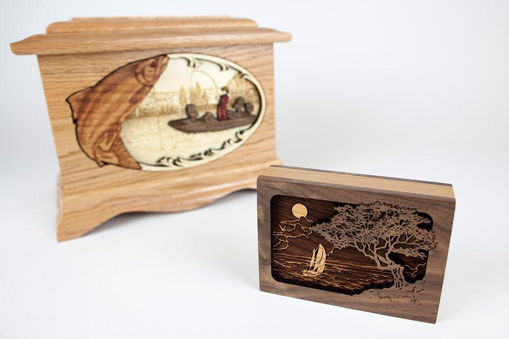 Keepsake urn size comparison Foreground: Small keepsake urn Background: Standard adult wood urn