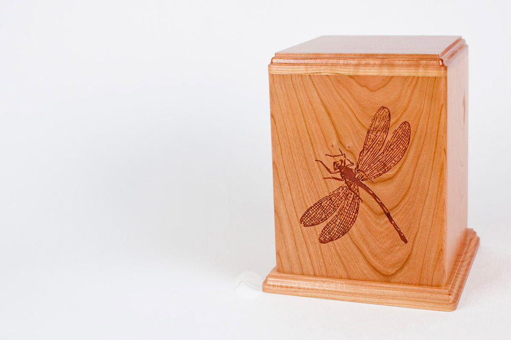 Laser Carved Wood Cremation Urn - Dragonfly (Made in USA)