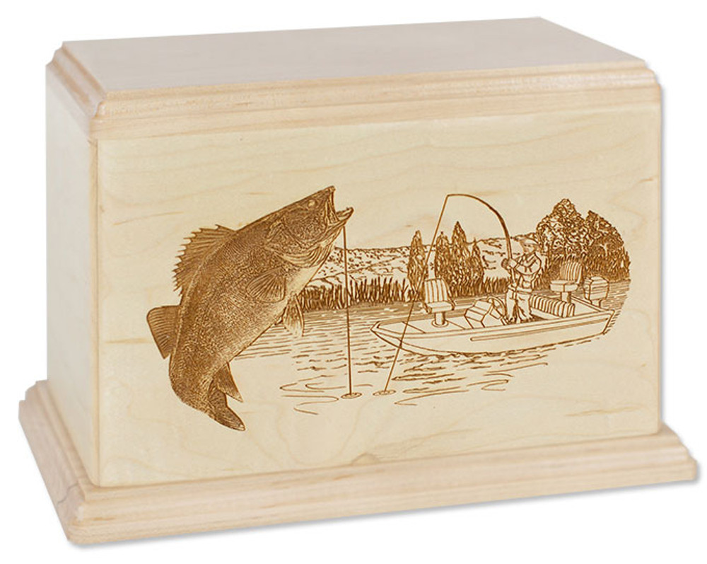 Laser Carved Walleye Fishing Urn
