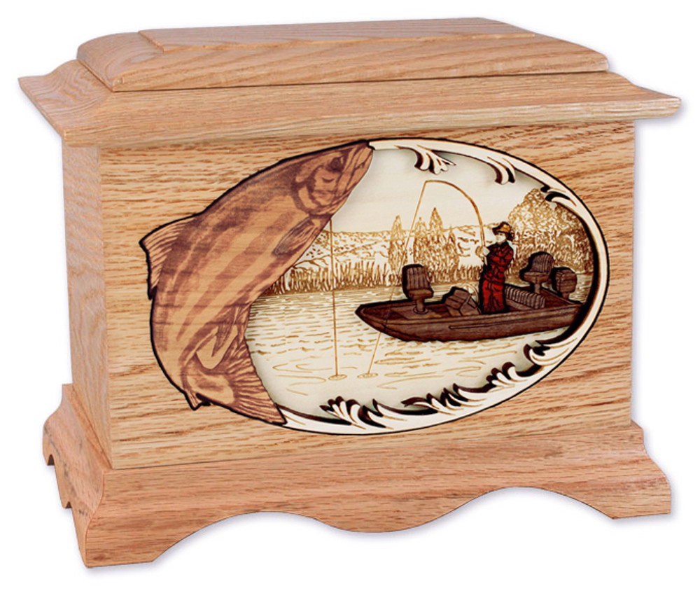 Salmon Boat Fishing Cremation Urn - Oak Wood