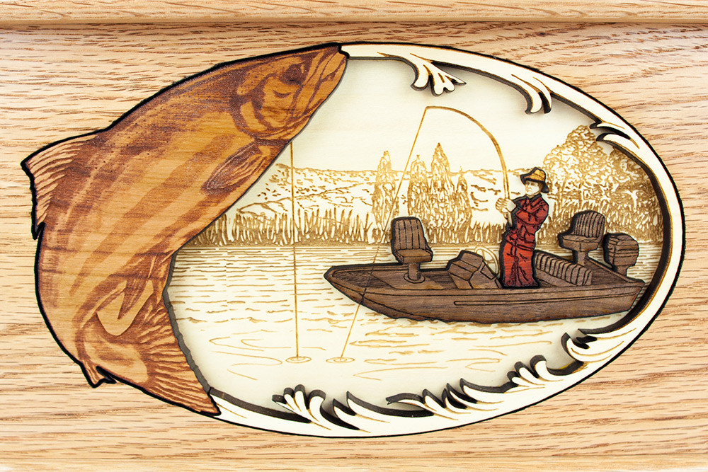 Wood inlay art detail: Fisherman, salmon, river boat