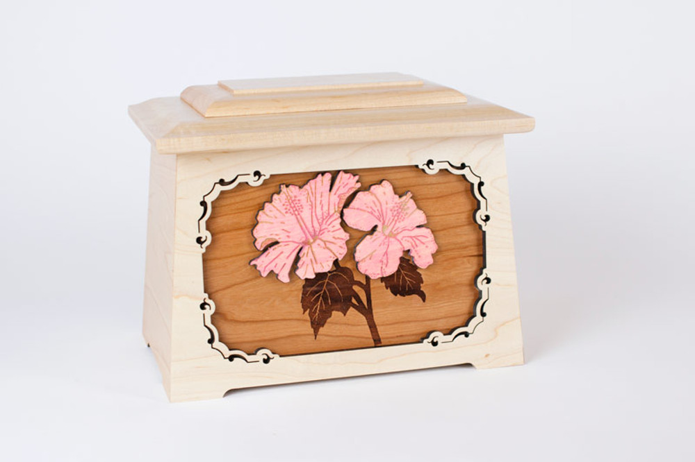 Cherry inlay panel with stained pink hibiscus flowers