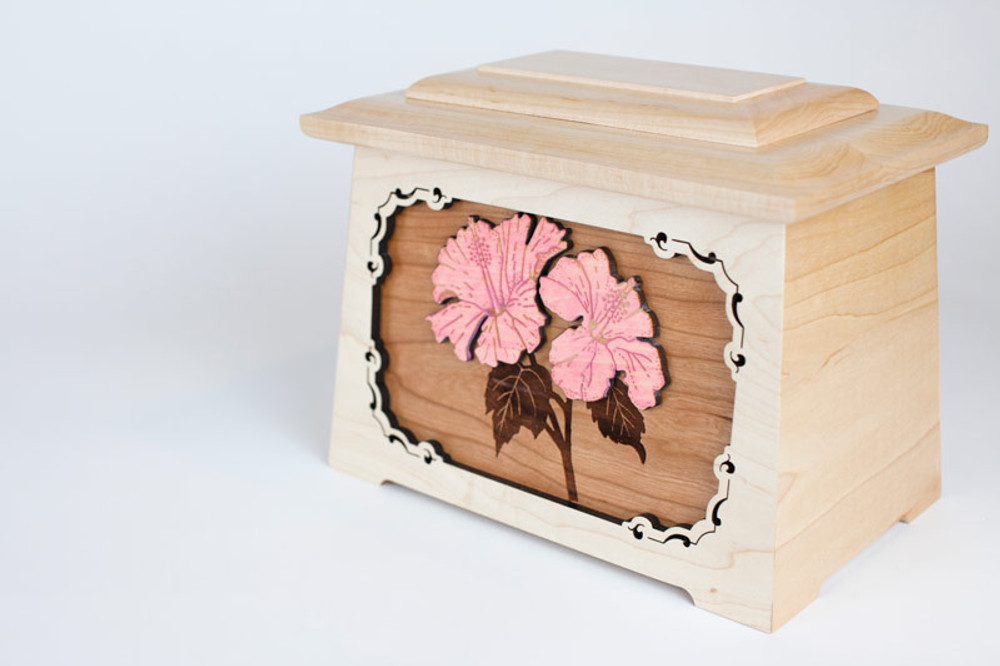 3-dimensional wood floral inlay art scene