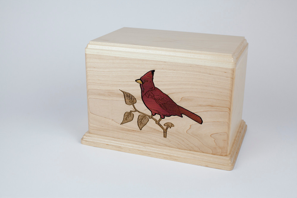 Maple wood urn with Cardinal inlay
