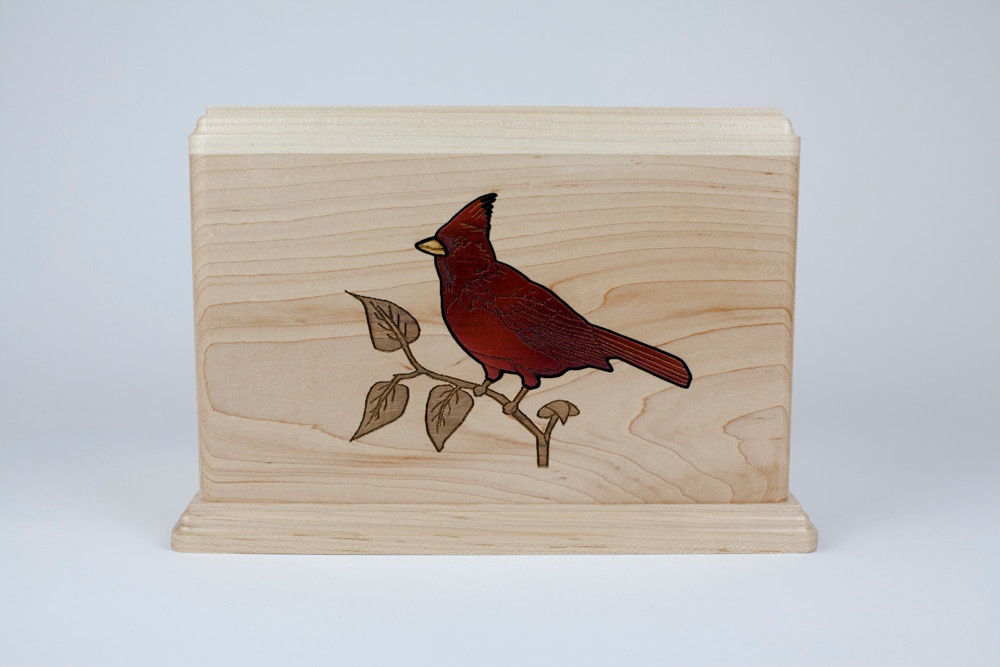 Gorgeous red Cardinal bird inlay art
