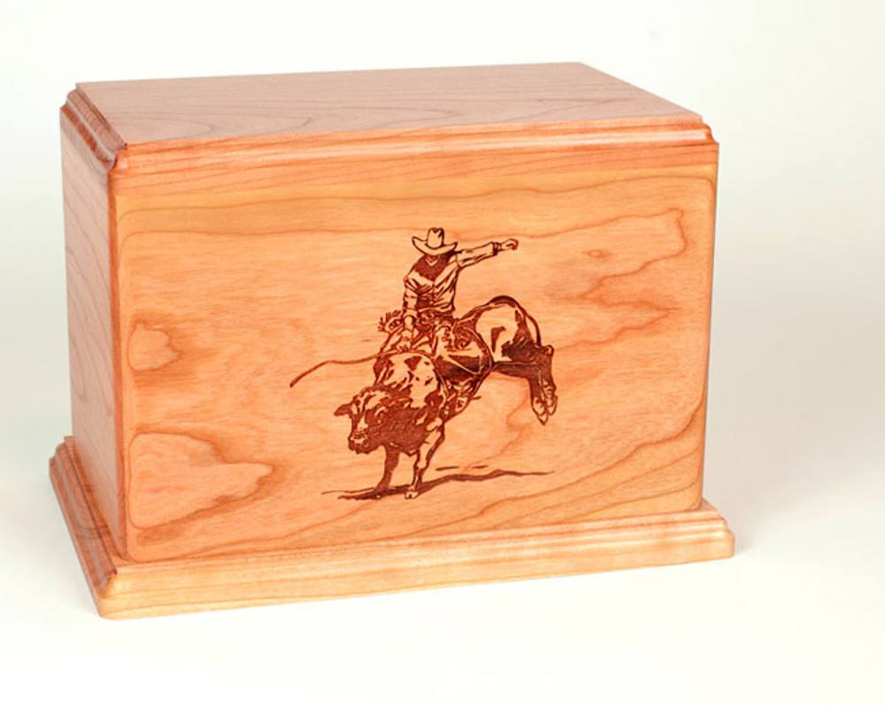 Laser Carved Wood Cremation Urn - Rodeo Bull Rider (Made in USA)