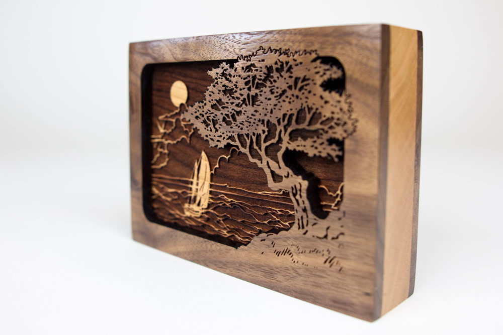 3 dimensional wood art inlay scene