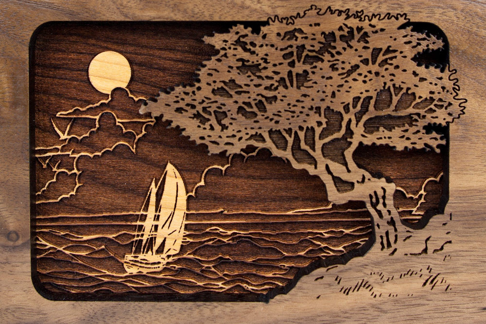 Seascape inlay wood art scene