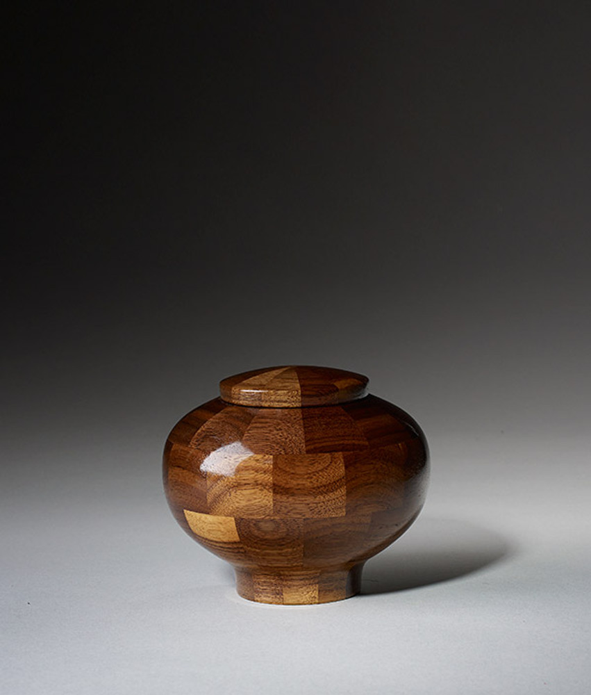 Keepsake Size - Rounded Walnut Cremation Urn