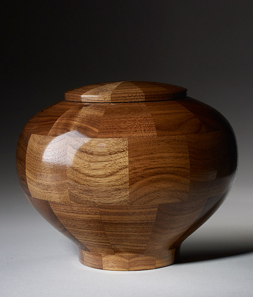 Standard (Large) Size - Rounded Walnut Cremation Urn